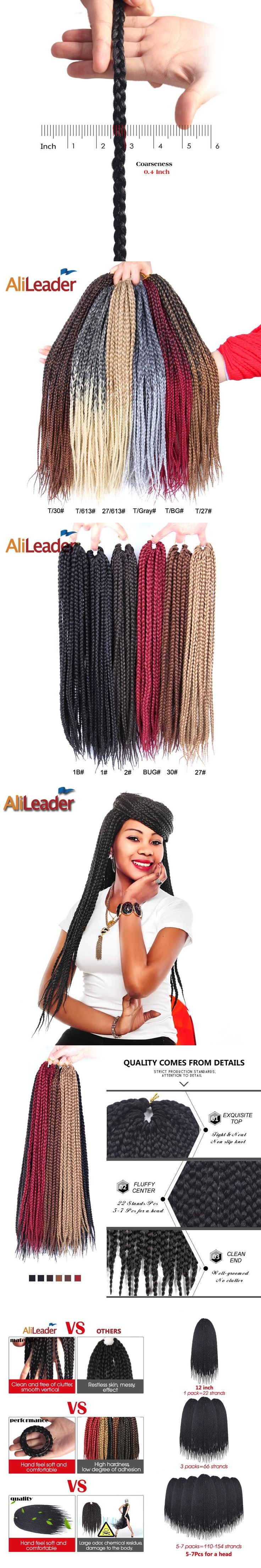 AliLeader Production Ombre Kanekalon Box Braids Crochet Hair Medium 12 16 20 24 30 Inch Afro Bulk Synthetic Hair Weave For Women