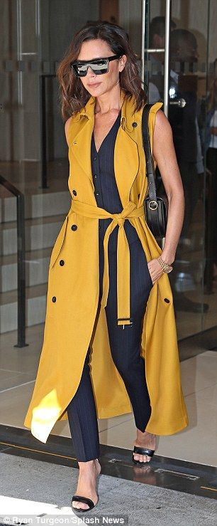 Victoria Beckham turns heads in sleeveless pinstripe suit as she steps out in New York | Daily Mail Online