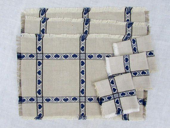 Scandinavian placemats & napkins  set of 3  natural linen