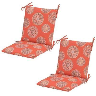Hampton Bay Blush Medallion Mid-Back Outdoor Dining Chair ...