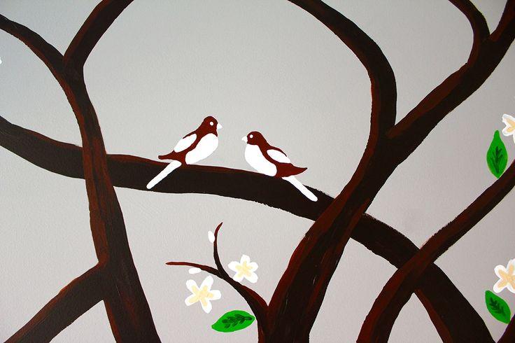 These are the Mummy & Daddy birds.  #babyroom #babyroomideas #babyroommural #wallmural #tree #cherrytree #art #artist #artwork #australia #melbourne #instagood #instalike #interiors #painting #love  #interiordesign #architecture #decor  #modernart #design #contemporary #customart #abstractart #artforsale #bespoke #commercialart #studio #studioart #melbourneartist #nursery #birds