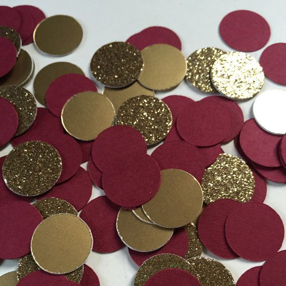 Gold and Burgundy Confetti Circles, with Shiny Gold and Premium Gold Glitter…