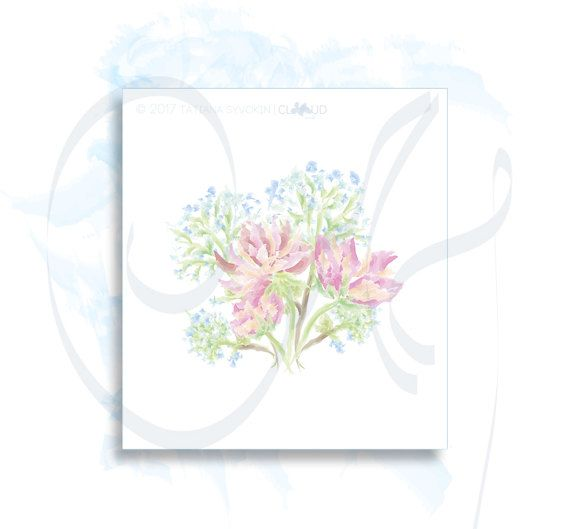 Pink peonies digital Flowers Peony bouquet painted digital card Blue hydrangea flowers painting watercolor illustration Flower picture print