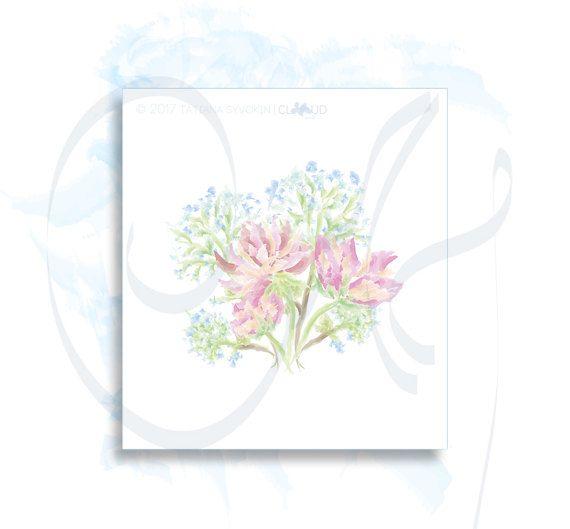 Pink peonies digital Flowers Peony bouquet painted digital card Blue hydrangea flowers painting watercolor illustration Flower picture print