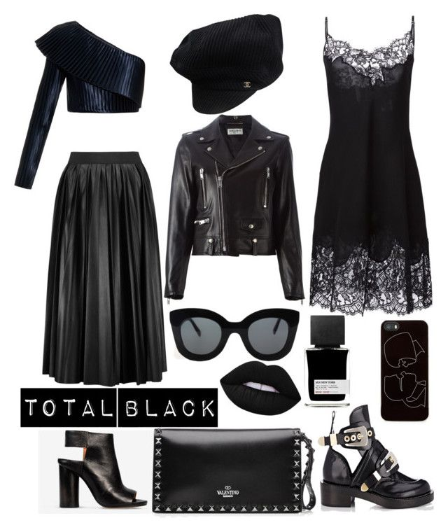 #totalblacklook by olga-chistogasheva on Polyvore featuring polyvore, fashion, style, Givenchy, Balmain, Yves Saint Laurent, Lanvin, Maison Margiela, Balenciaga, Valentino, Chanel, Zero Gravity, CÉLINE, Lime Crime, MiN New York and clothing