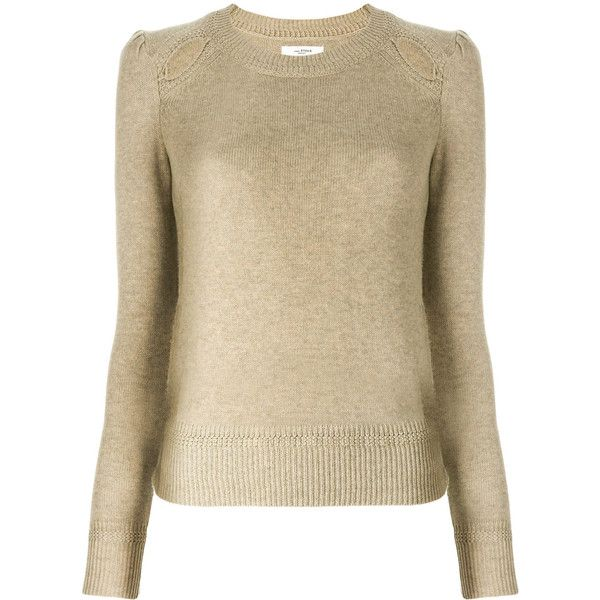 Isabel Marant Étoile perforated detail jumper (€220) ❤ liked on Polyvore featuring tops, sweaters, bohemian style tops, brown sweater, long sleeve tops, long sleeve sweater and brown long sleeve top