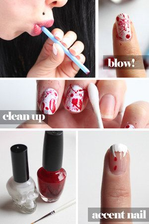 Blood splatter nails...ok so the whole blood/vampire theme is kinda creepin me out...but the way she does the splatters is so smart!!