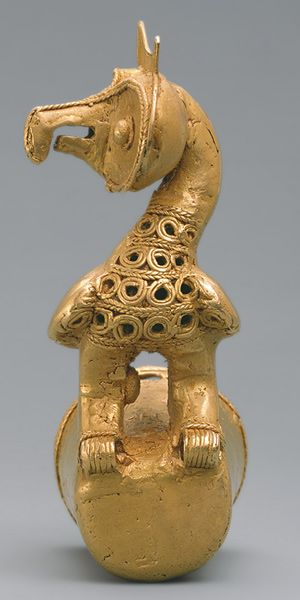 Staff Head with Owl, 5th–10th century  Colombia; Sinú  Cast gold: