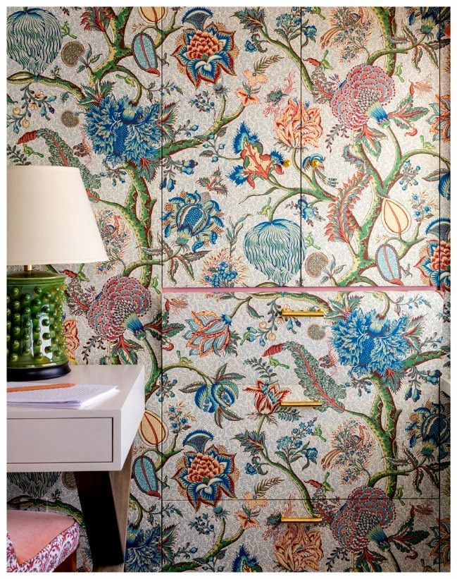 VT Interiors - Library of Inspirational Images: Brave Colour Choices If you look closely, you see this is closets doors and drawers covered in wallpaper or fabric... Divine