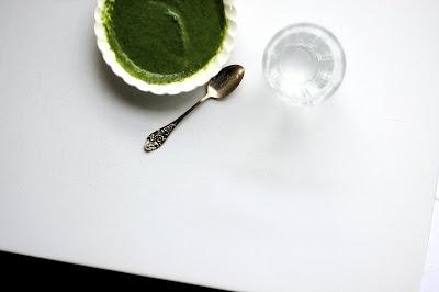 Spinach and Green Garlic Soup (green garlic, chicken broth, spinach, crème fraîche)