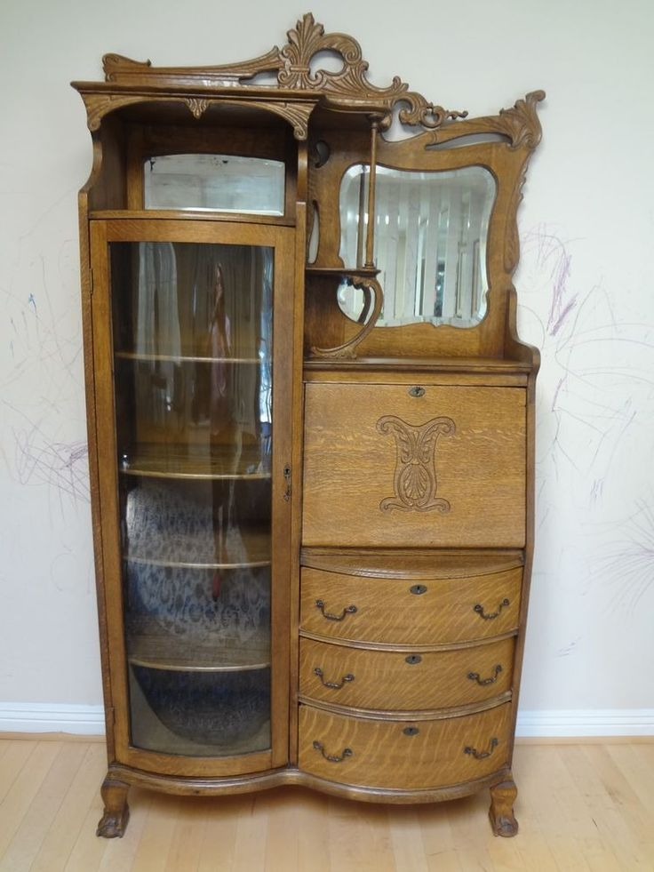 47 best images about Oak Secretary on Pinterest | Glass curio cabinets, Hutch cabinet and ...