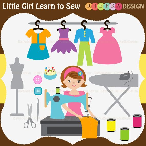 Little Girl Learn to Sew Clipart Set by riefka on Etsy, $6.00