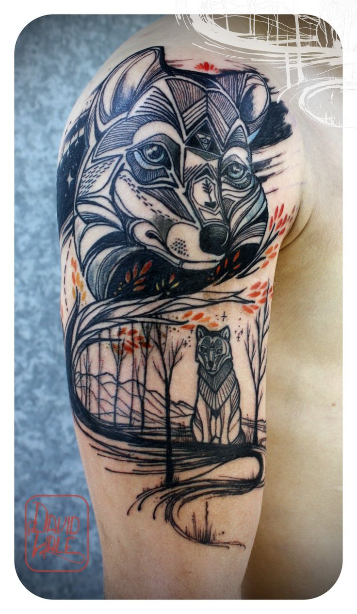 Awesome David Hale wolf tattoo. Just wow.