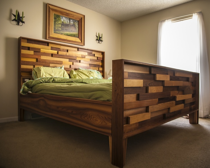 western red cedar bed frame from leftover job site material reclaimed repurposed