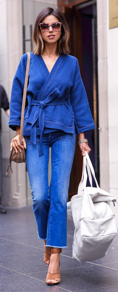 Blue Kimono Top Outfit Idea by Vivaluxury