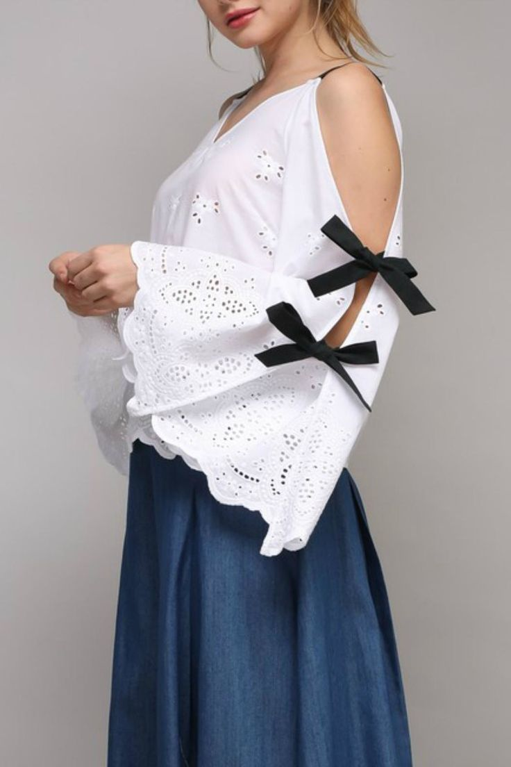 Do & Be Cold-Shoulder Eyelet Top from California by Apricot Lane - Folsom — Shoptiques