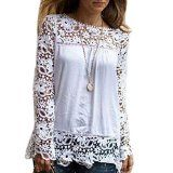 Yonger Women Long Sleeve Embroidery Lace Crochet Chiffon Tops Blouse Flowers - http://tonysgifts.net/2015/04/28/yonger-women-long-sleeve-embroidery-lace-crochet-chiffon-tops-blouse-flowers/