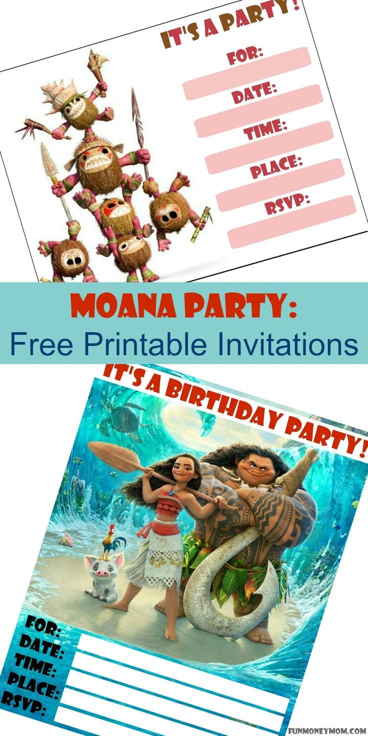 moana party free printable invitations