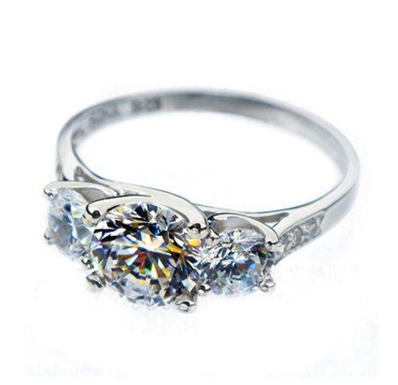 Engagement Ring Three Stone Ring Synthetic by LenaMayJewelley
