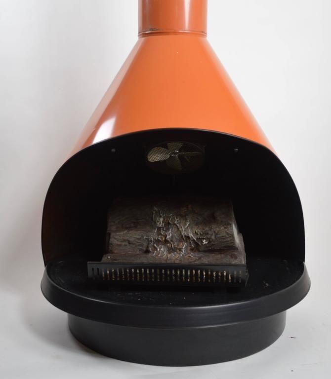 """Preway Faux Fireplace in Orange Enamel with """"Logs"""" 2"""