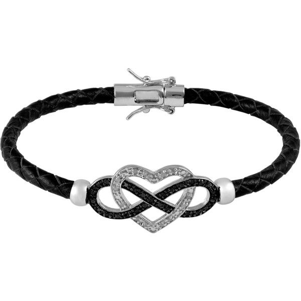 Jewel Exclusive Sterling Silver  Diamond Leather Braid Heart w/ Black... (£39) ❤ liked on Polyvore featuring jewelry, bracelets, accessories, pulseira, black, multi, sterling silver diamond bracelet, diamond bracelet, heart bracelet en sterling silver bangle bracelet