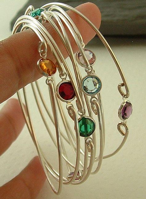 Birthstone bracelets ,stacking silver bangle bracelets, gemstone bangle, bracelet ,thin bracelet, Bridesmaids gift on Etsy, $15.00