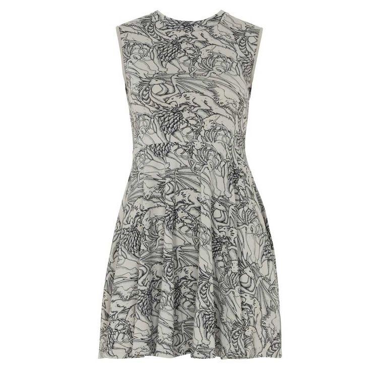 Jawbreaker Clash Of The Sigils korte skater jurk met hoge hals grijs |