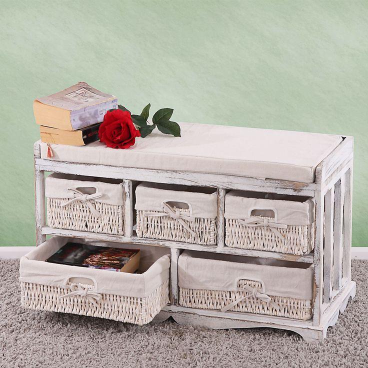 Kommode und Sitzbank mit 5 Schubladen, Shabby-Look, Vintage weiß - Vorschau 1
