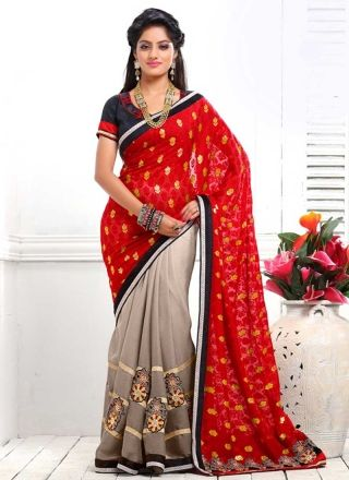Deepika Singh Red And Grey Brasso Satin Chiffon Half N Half Saree