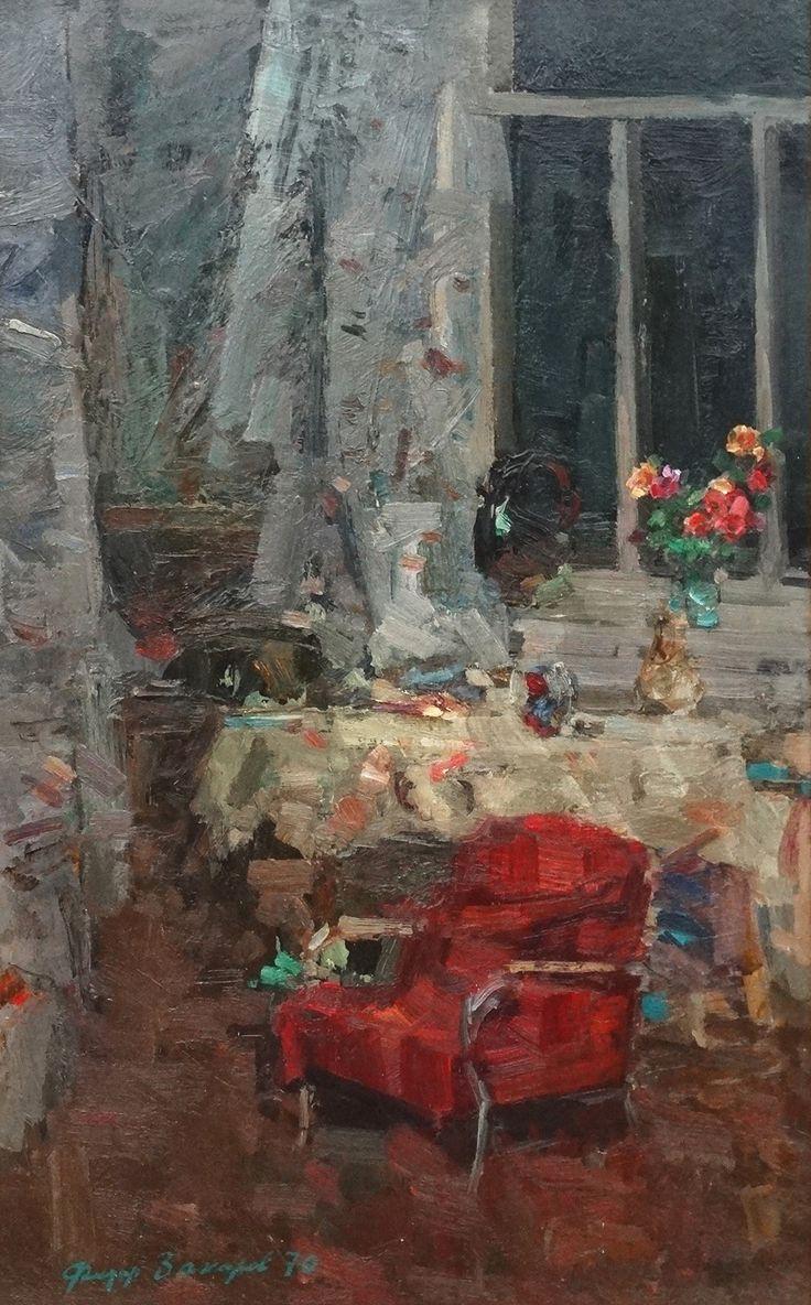"Lot 51: Fiodor Zakharovich #Zakharov (1919-1994), #Russian School. Oil on board, "" The #artist's #studio "", Dated 1970 signed lower left. 31 1/2 x 19 3/4""."