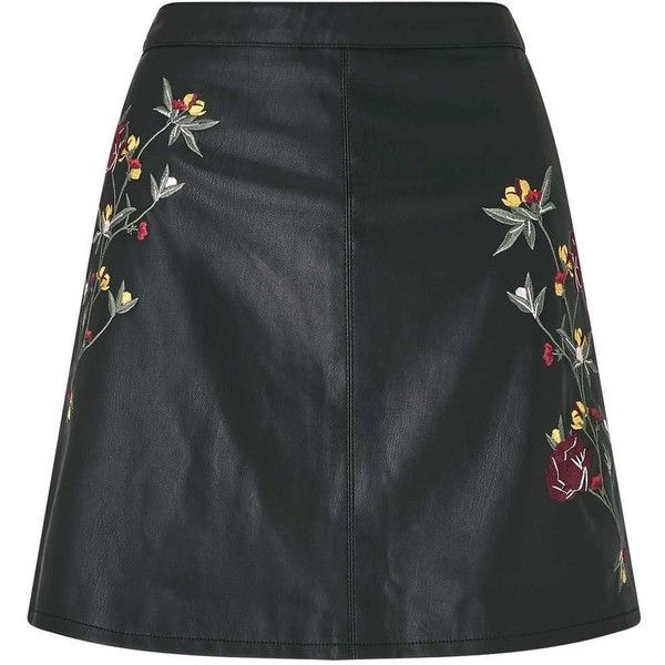 Miss Selfridge Black Embroidered PU Skirt (220 PEN) ❤ liked on Polyvore featuring skirts, black, pu skirt, miss selfridge, going out skirts, miss selfridge skirts and party skirts