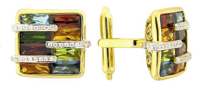 Small square cufflinks in 14k gold with 11.05 cts. t.w. blue topaz, rhodolite garnet, green tourmaline, citrine, and peridot and 0.25 ct. t.w. diamonds, $5,690