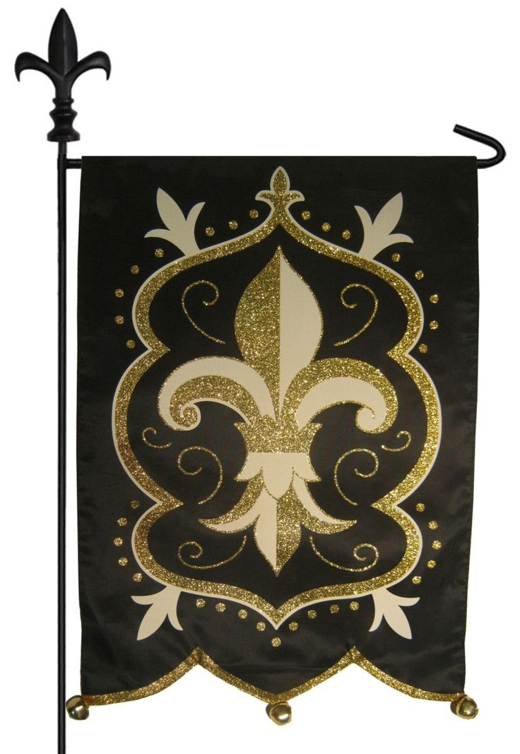 IAmEricas Flags   Black And Gold Fleur De Lis Glitter Applique Garden Flag,  $18.00 (