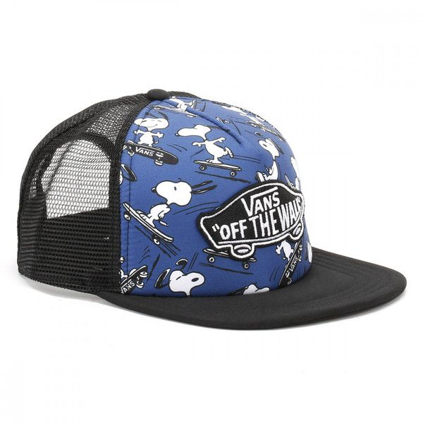 Vans Peanuts True Navy Classic Patch Trucker Plus Snapback Cap ($32) ❤ liked on Polyvore featuring accessories and hats