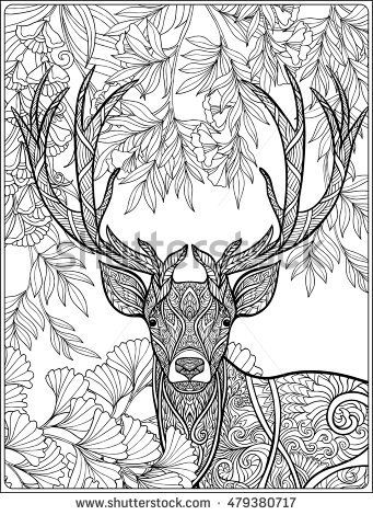 Coloring Page With Deer In Forest Coloring Book For Adult