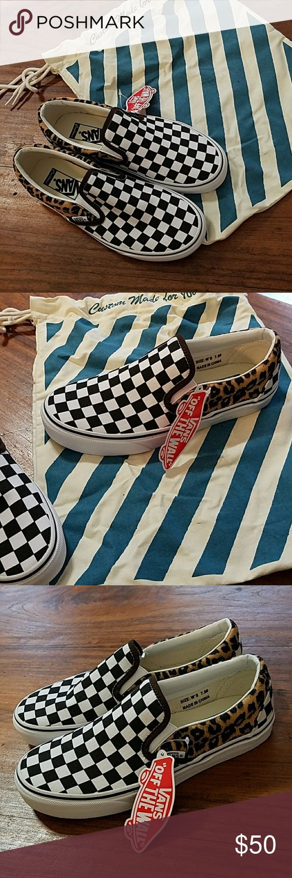 NWT Custom Vans Shoes Canvas Checkered Cheetah Custom Vans Slip-on Shoes Canvas with Checkered & Cheetah Prints.  Brand New with Tags, dustbag and original box Size 7.5 Very unusual. Very original. Vans Shoes Sneakers