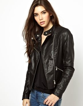 Image 1 ofNew Look Real Leather Jacket
