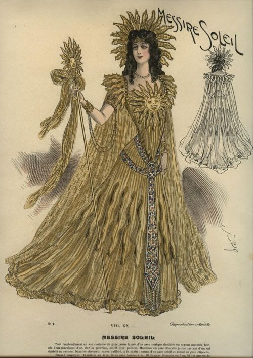 "Early 20th c. fashion plate for ""Sun"" masquerade costume."