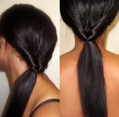 Este estilo simples e intemporal é muito fácil de elaborar.   Apanhe o cabelo na nuca e faça um rabo-de-cavalo normal.   Crie uma divisão em acima do apanhado para que este passe, e empurre o rabo-de-cavalo por cima do topo. Puxe e aperte o cabelo para completar o seu estilo.  in Organic Root Stimulator Portugal