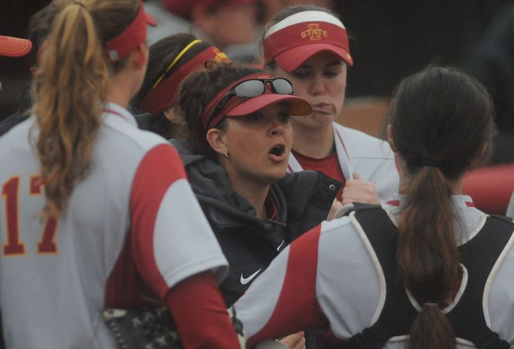 Iowa State softball coach Jamie Trachsel coaches her team during the first inning of the Cyclones' 18-4 loss to  Texas Tech Friday. Photo by Nirmalendu Majumdar/Ames Tribune http://www.amestrib.com/sports/20170324/softball-iowa-state-gives-up-13-runs-in-first-falls-to-texas-tech-18-4-in-big-12-opener
