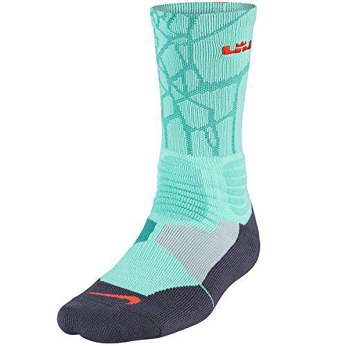 Nike LeBron James Hyper Elite Crew Turq Green Socks SX4885-388 Nike