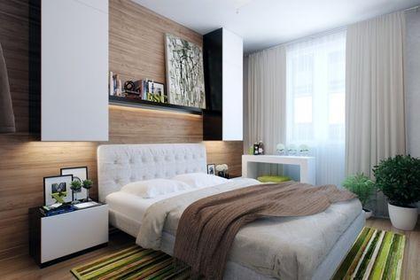 kleine schlafzimmer modern-holz-wandverkleidung-led-leisten-gruene-pflanzen-teppich