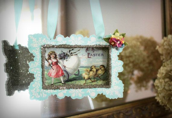 Vintage style postcard hanging ornie by Nancy Malay