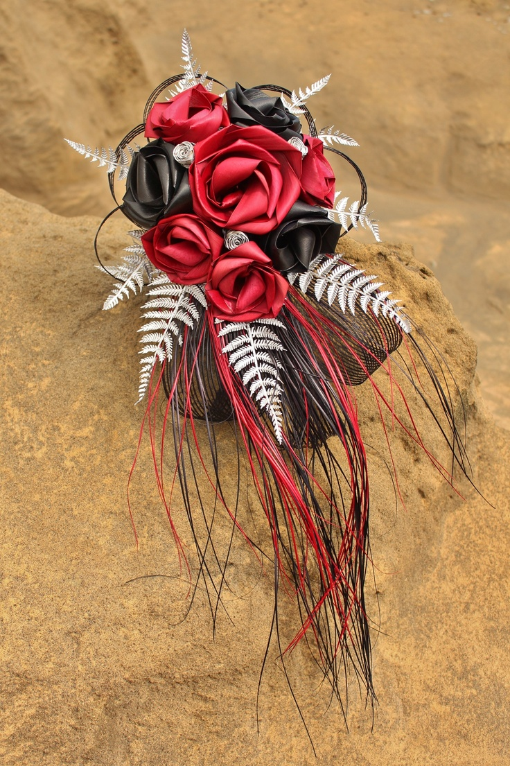 New Design 'Waterfall' brides bouquet by Flaxation.  www.flaxation.co.nz