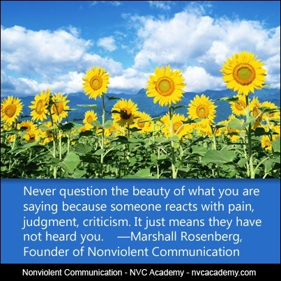 Never question the beauty of what you are saying because someone reacts with pain, judgment, criticism. It just means they have not heard you.    ―Marshall Rosenberg, Founder of Nonviolent Communication