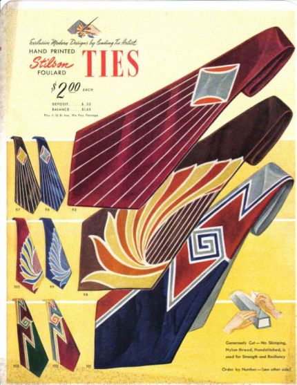 1930-1939 During the Art Deco movement of the 1930s, neckties became wider and often displayed bold Art Deco patterns and designs. Men also wore their ties a bit shorter and commonly tied them with a Windsor knot – a tie knot that the Duke of Windsor invented during this time.