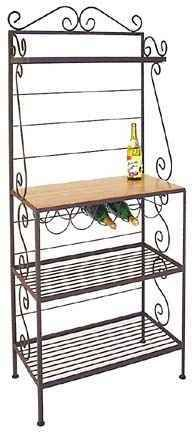 Gourmet Bakers Rack, I love the built in wine rack! SimplyCountryLiving.com/