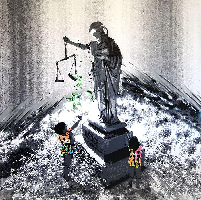 """KURAR street artist artwork named """" JUSTICE"""" more details on ; kurar.fr/#home"""