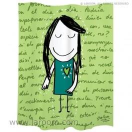 """Laroom - Cortina baño  """"mirar"""" verde polyester - Laroom diseña los productos para Baño más bonitos del mundo - www.laroom.com (producto diseñado y fabricado por Laroom con ilustración de anna llenas)"""