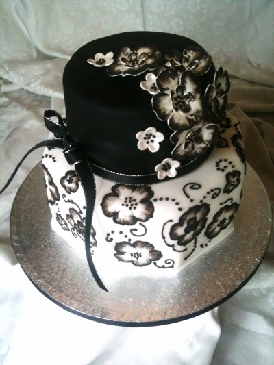 Black & White brush embroidery flower cake By sarahsweet on CakeCentral.com